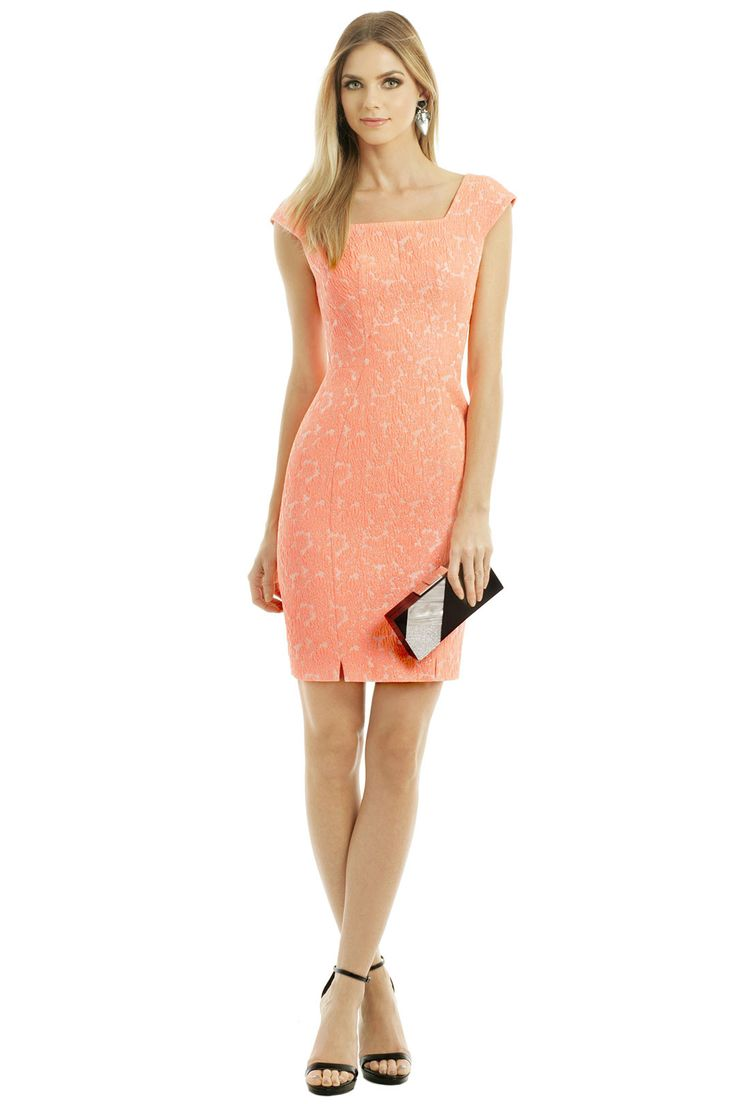 Peach or coral dress from Rent the Runway for a wedding guest