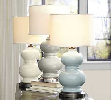 Love the price ($109) and the colors for your master bedroom bedside tables. Alexis Ceramic Table Lamp Base #potterybarn