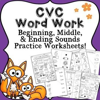 A CVC Word Work Pack for practice reading beginning, middle, and ending sounds! Simple, CVC (consonant, vowel, consonant) word activities designed for students in PreK and Kindergarten who are developing early reading and writing skills. 72 CVC words are covered in this bundle: pig, top, box, bug, car, rat, web, fox, man, run, ram, cow, mad, kid, pan, mit, tag, hat, six, dot, gem, sun, lip, hen, (animal) bat, sit, mop, jet, cut, wig, net, rug, cab, rip, gum, pin, nut, bed, vet, ham, leg…