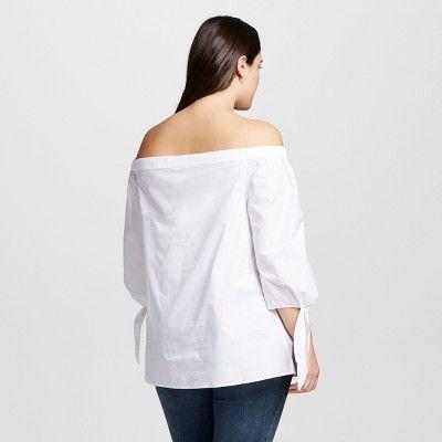 Women's Plus Size Bardot Top Fresh White 2X - Ava & Viv