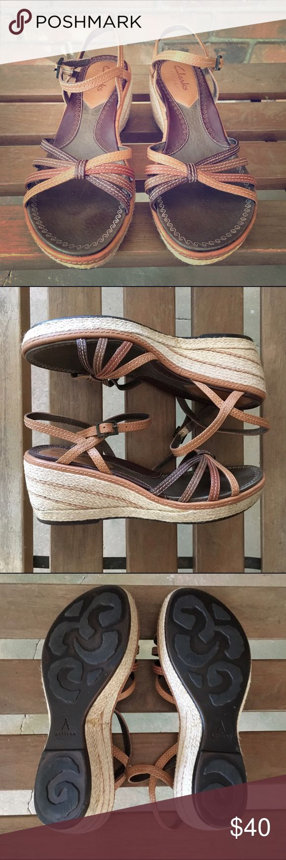 Clarks Artisan Tan Twill Cashmere Wedge Sandals Clarks brand sandals in excellent, like new condition.  Brown and tan with twill material on the wedges.  Leather straps. Clarks Shoes Sandals