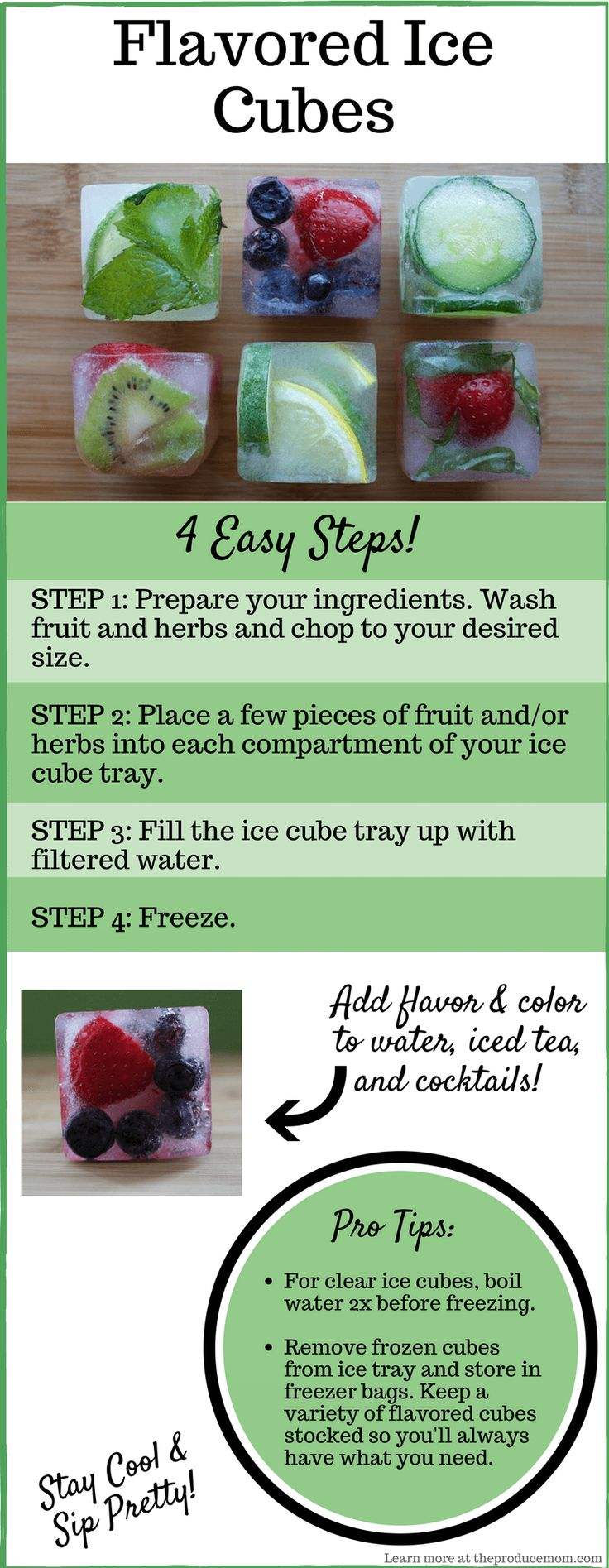 Great for summer parties and cookouts! - How to make flavored ice cubes infographic