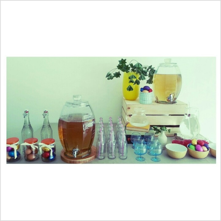 Drink / beverage dispenser for hire. A refreshment table for the kids after an Easter hunt