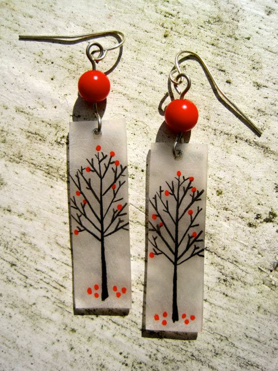 shrinky fun  //  fall tree earrings by simplefolkjewelry on Etsy