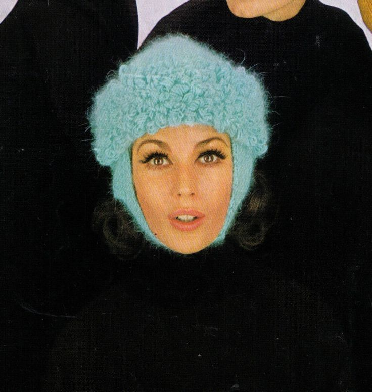 VINTAGE 60'S WOMEN'S BLUE HALF HOOP WINTER HAT WITH TIE UP 4PLY KNITTING PATTERN