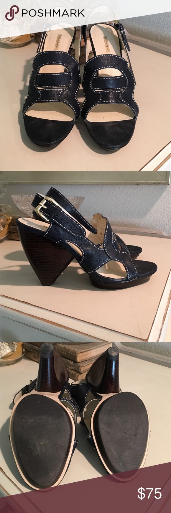 Max studio navy blue and white wedges Beautiful and totally unique navy blue with white stitching max studio wedges. Rarely worn.  Comes with original box. Max Studio Shoes Wedges