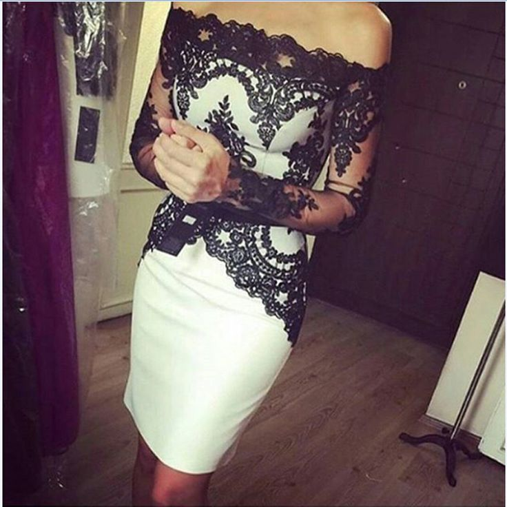 White and Black Lace Knee Length Mother of the Bride Dresses With Long Sleeves Off The Shoulder Short Formal Evening Dresses 9