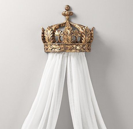make bed crown from plaster crown (hobby lobby) picture wire and sheer white panels