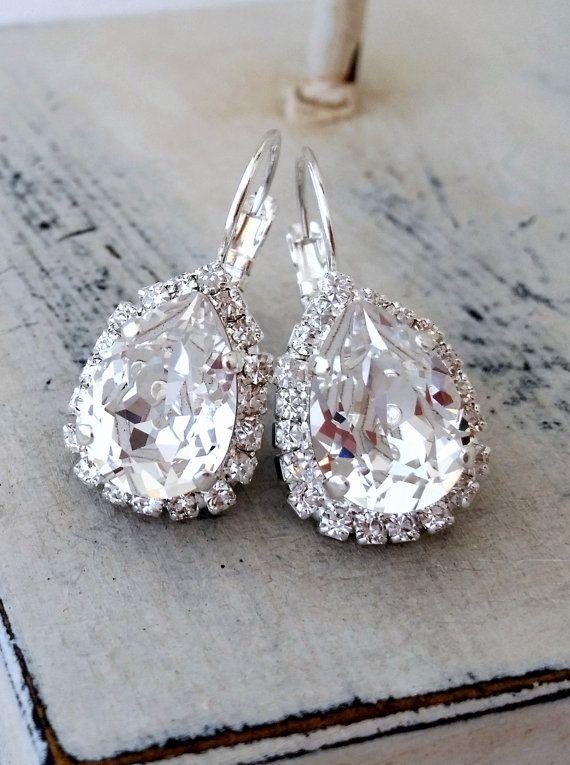 Clear crystal Swarovski earrings by EldorTinaJewelry  | http://etsy.me/1jfVpXN