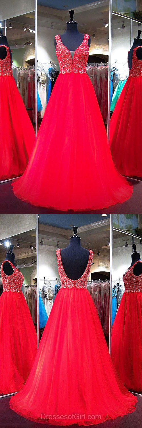 Red Prom Dresses, Princess Formal Dresses, V-neck Tulle Party Dresses, Boutique Backless Evening Dresses, Girls Long Homecoming Dresses