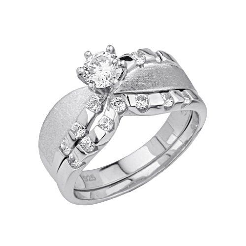 Elegant 925 Sterling Silver Solitaire Women's Wedding Engagement Promise Ring Set with Free Gift Box Included qs9RJDn