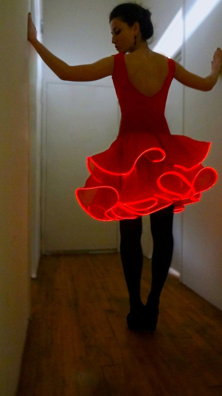 Pin for Later: 8 LED Costume Ideas That'll Light Up Halloween Electric Flamenco Dancer You could be a futuristic emoji.