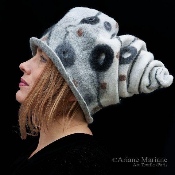 Felt women hat black white head sculpture unique by ArianeMariane