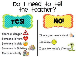 Use for lesson on tattling vs. reporting *even simpler than the previous tattling vs reporting chart I pinned!