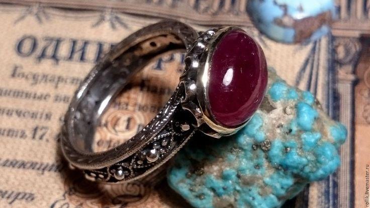 Купить Авторское кольцо с крупным, природным рубином - авторская ручная работа, кольцо ручной работы