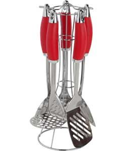 ColourMatch 5 Piece Kitchen Utensils Set - Poppy Red.