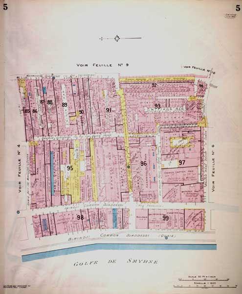 Chas. E. Goad. İzmir, 1905. 5 no'lu plan.   Kordon Caddesi ve rıhtım civarı.   IFEA Koleksiyonu  APLGDSMYR05