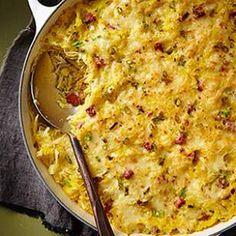 Zesty sauerkraut, Swiss cheese and rye bread add Reuben-esque flavor to this surprisingly addictive spaghetti squash skillet recipe.