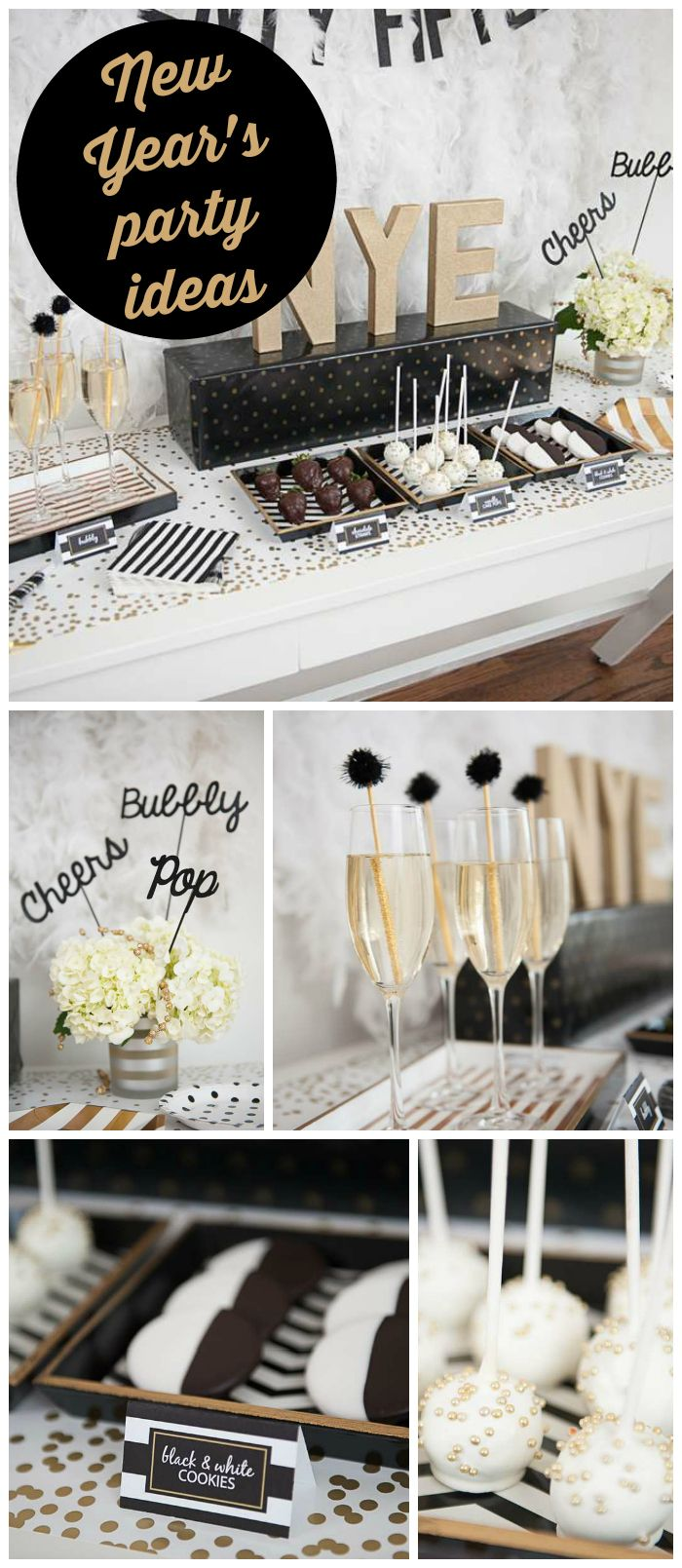 A black and gold New Year's Eve party with chocolate covered strawberries and sparkly cake pops! See more party planning ideas at CatchMyParty.com!