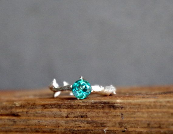 Sparkling Green Topaz Twig Ring Alternative Engagement by Nafsika, $70.00