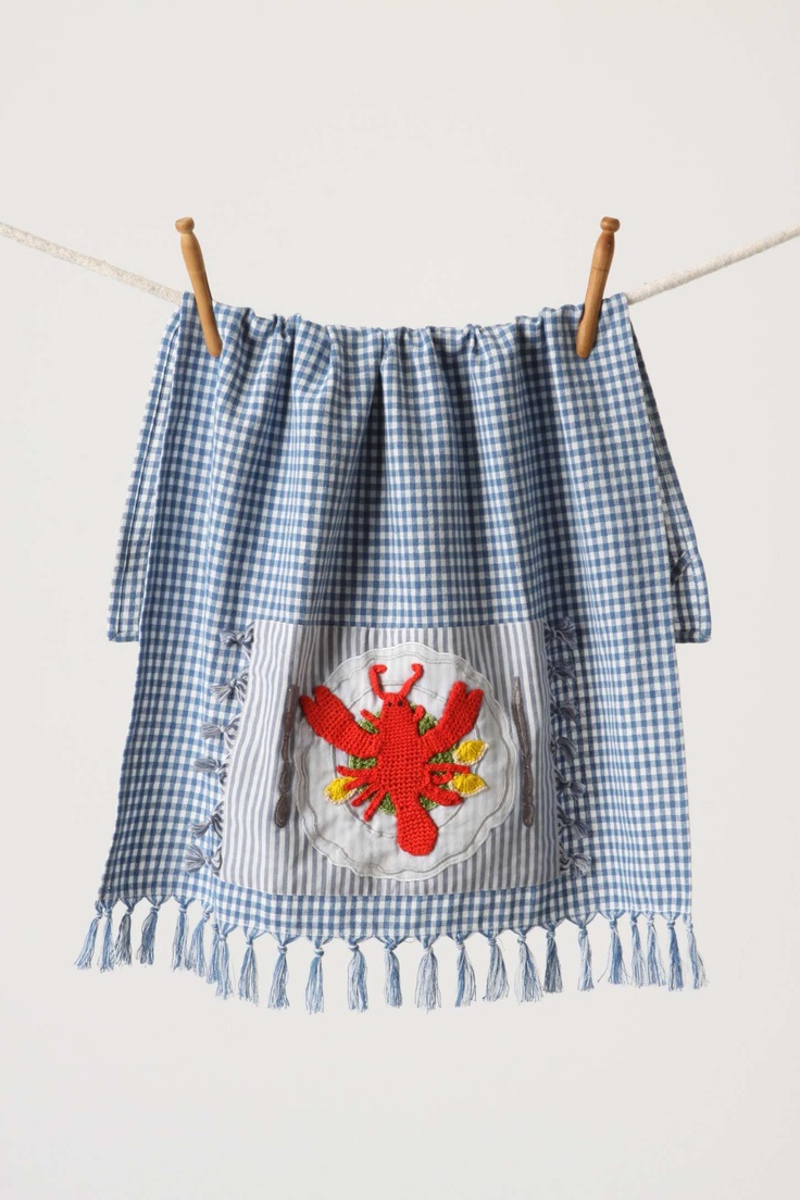 Blue and white kitchen towels - Cute Tea Towel From Anthropologie