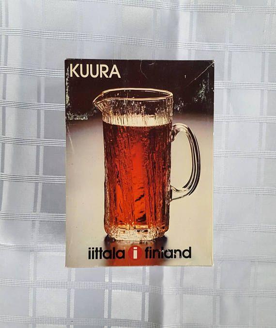 Iittala Kuura Finland Pitcher designed by Tapio Wirkkala. Vintage Finnish Glass
