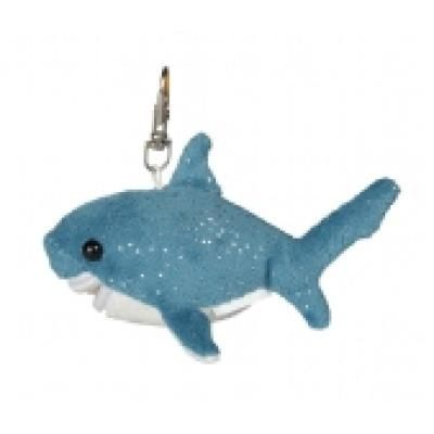 Image of Branded Plush Shark Keyring. 10 cm Sparkle Shark Key ring.
