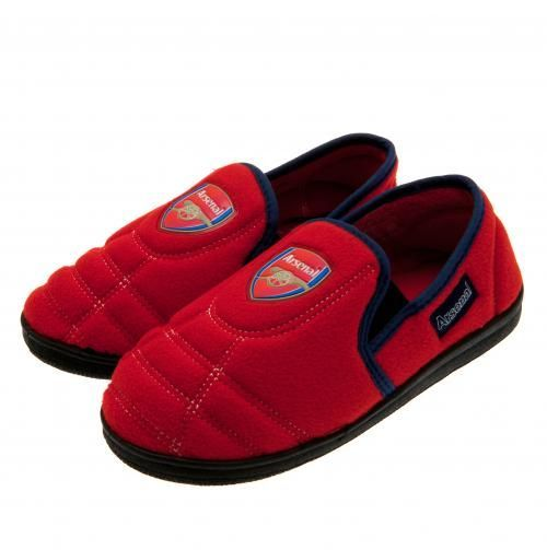 Arsenal children's slippers in size 1/2, in club colours and featuring the club's club crest. FREE DELIVERY on all of our gifts