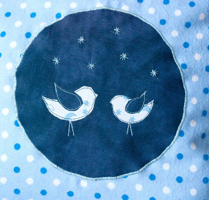 freebook friday, Vogel Applikation kostenlos, SULKY by Gunold, SULKY kreativ, Nähen für Faule, Kissen aus einem Stück