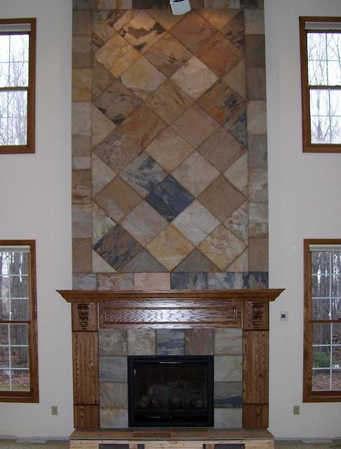 slate two story fireplace
