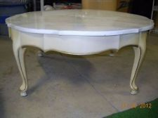 OLD VINTAGE 1960 FRENCH PROVINCIAL ITALIAN MARBLE COFFEE TABLE AND END  TABLES