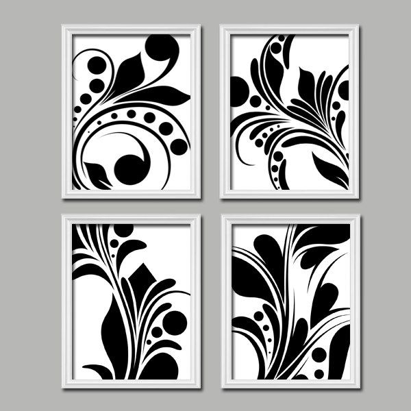 Bold Swirl Black u0026 White Flourish Design Set of 4 Abstract Prints Bedroom Wall  Decor Art