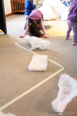 POLAR BEAR WALK: Masking Tape, Cotton to Tear Up, White Felt Sheets for Snow, Random Items to Add to Obstacle Course, Stuffed Animal Polar Bear