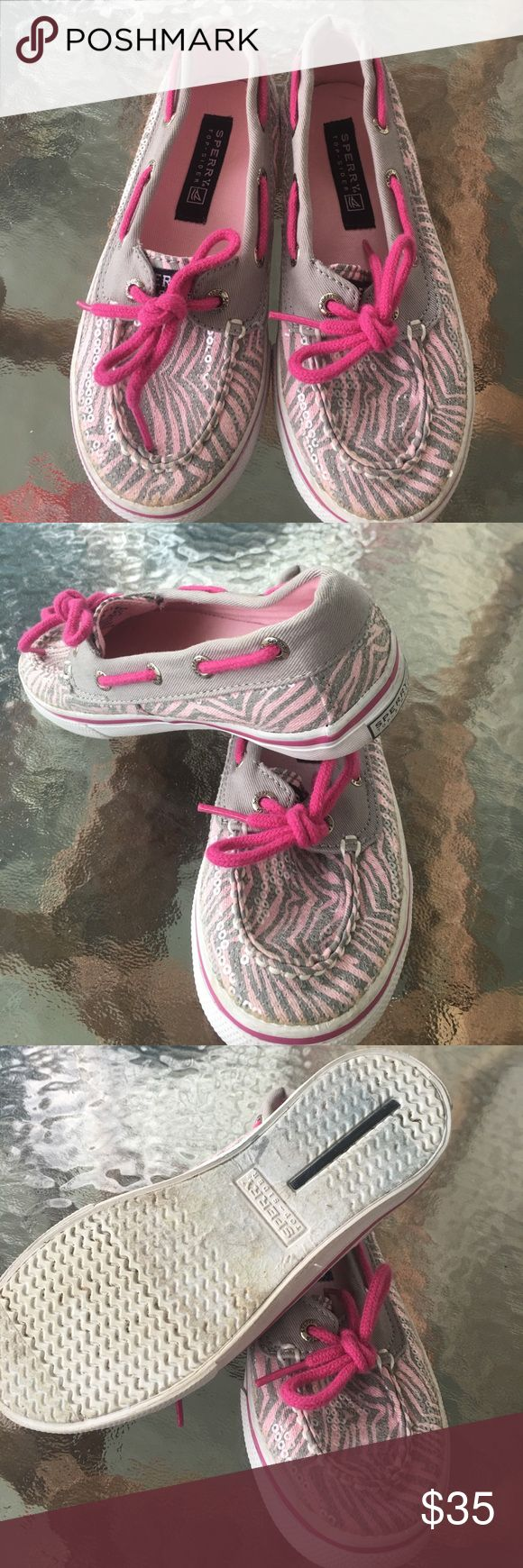 Girls size 12.5 SPERRY pink and gray sparkly shoes Like new adorable girls SPERRY size 12.5 gray and pink sparkly shoes. Sperry Top-Sider Shoes
