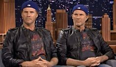 Perhaps the most well known celebrity clone like confrontation was that of the Will Ferrell (L) of SNL fame and Chad Smith (R) the drummer for the Red Hot Chili Peppers having a drum off on Jimmy Fallon. You can see the hilarious prologue here... https://www.youtube.com/watch?v=EsWHyBOk2iQ