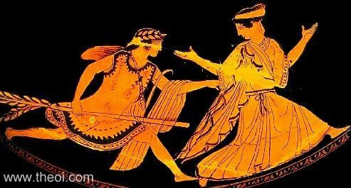 Apollon, wielding a laurel branch, pursues a maiden. The girl is identified as either Daphne or Marpessa. The laurel branch may be symbolise Daphne's metamorphosis.