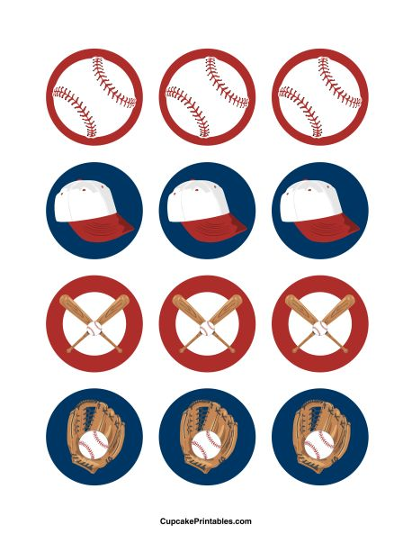 Baseball cupcake toppers. Use the circles for cupcakes, party favor tags, and more. Free printable PDF download at http://cupcakeprintables.com/toppers/baseball-cupcake-toppers/