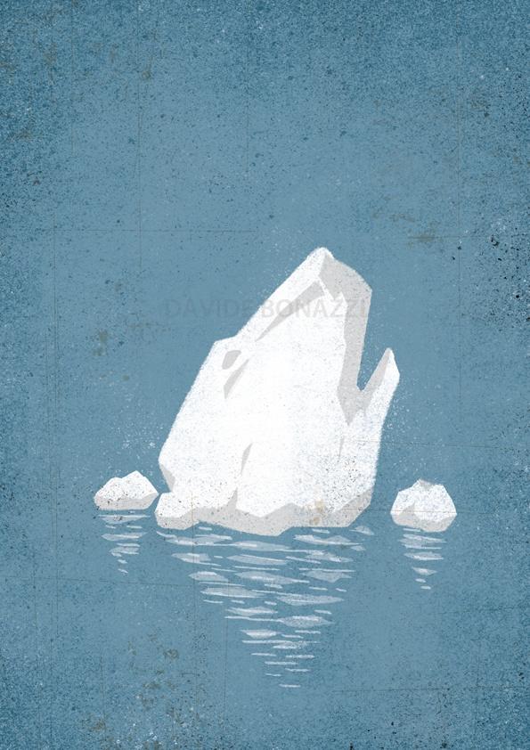 Global Warming illustration by David Bonazzi of a drowning polar bear iceberg