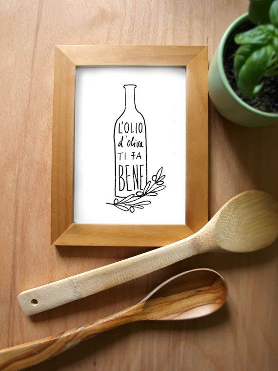 L'OLIO Art for Kitchen, Italian Olive Oil Print / high quality fine art print. $30.00, via Etsy.