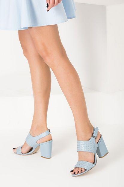 Hakiki Deri Mavi Troklu Tokalı Kadın Topuklu Ayakkabı