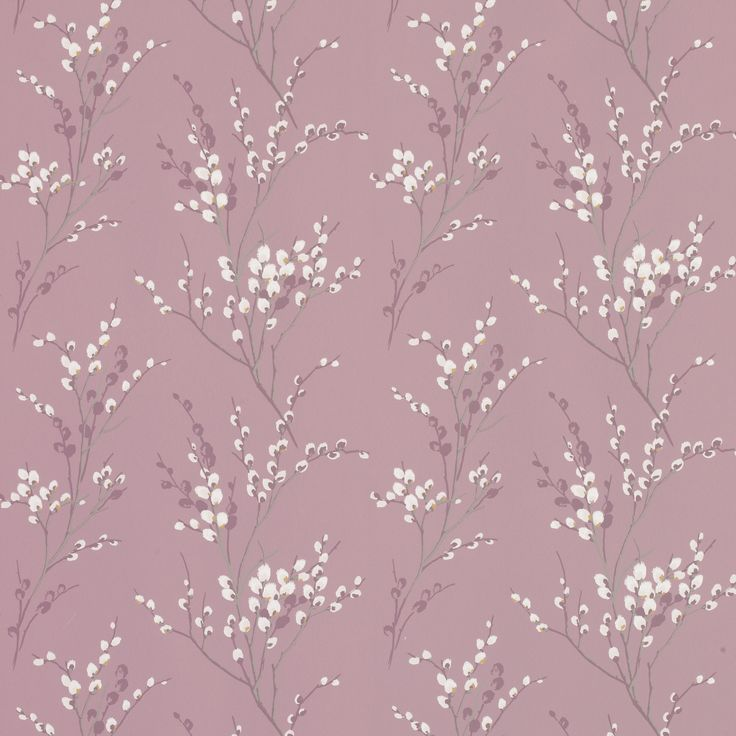 Pussy Willow Grape Floral Wallpaper, combine with purple silk curtains?