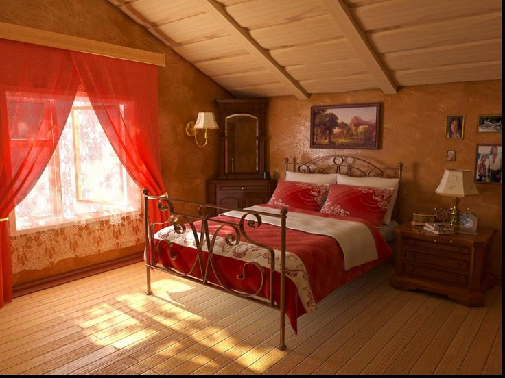 Red attic bedroom