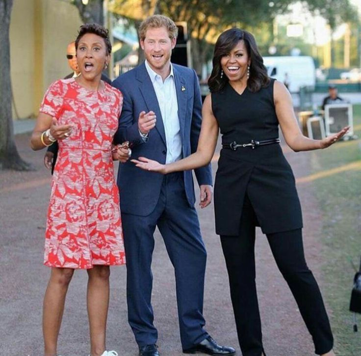 Robin Roberts and Prince Harry with the First Lady Michelle Obama ❤