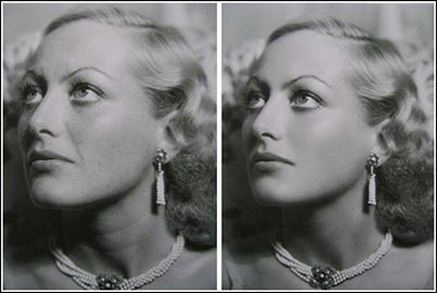 Joan Crawford by Hurrell  Before and After Retouching Photo, early 1930's