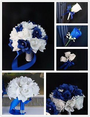 13pc wedding silk flowers-Royal blue,White-bouquet corsage boutonnieres