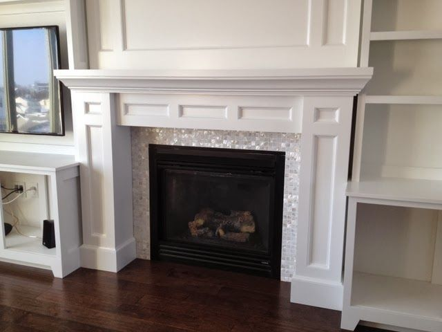 diy builtin fireplace surround mother of pearl tiles - How To Build A Fireplace Surround