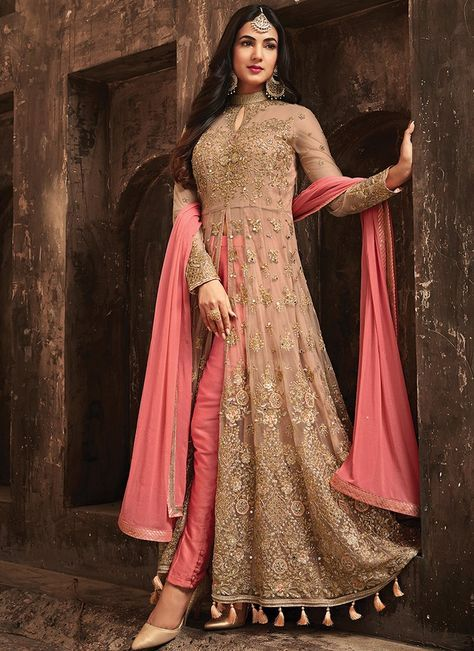 ad9fa90e81 Light Pink and Beige Embroidered Net Pant Style Anarkali features a beautiful  net top alongside a santoon inner and a banarsi silk bottom.