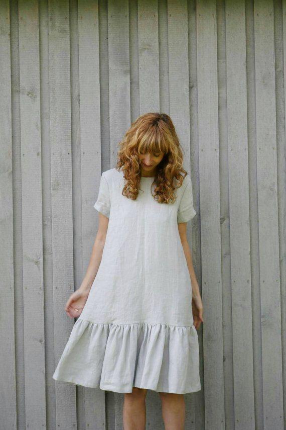 Leinen lose Kleid – Leinen Sonnenkleid – handgefertigt von OFFON