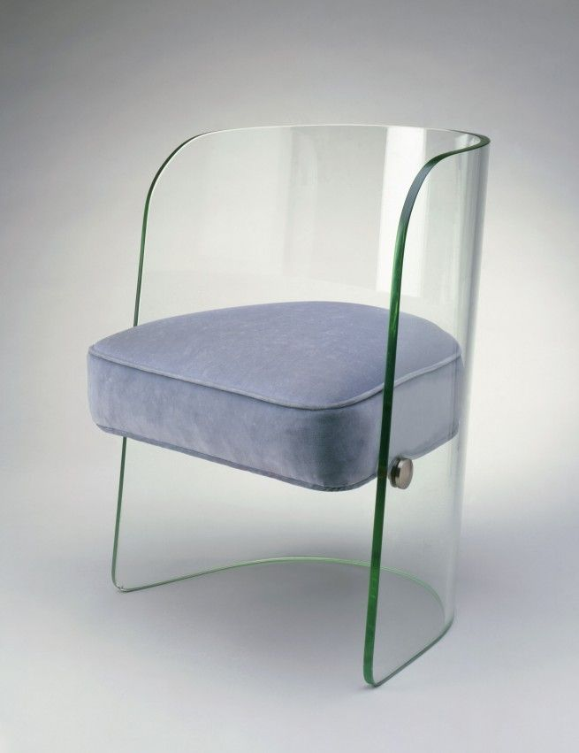 1930s Streamlined Art Deco Glass Chair