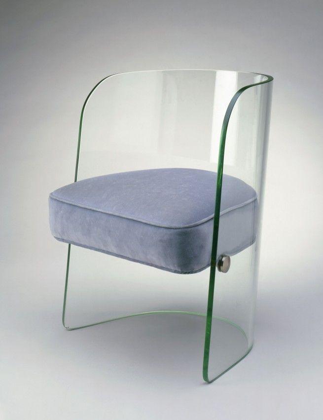 1930s Streamlined Art Deco Glass Chair